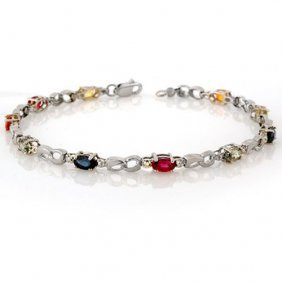 Genuine 3.51 Ctw Multi-sapphire & Diamond Bracelet 10k