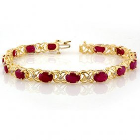 Genuine 16.05 Ctw Ruby & Diamond Bracelet 10k Yellow
