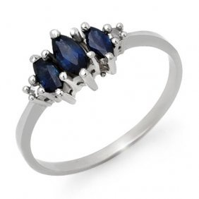 Natural 0.66 Ctw Blue Sapphire & Diamond Ring 18k White