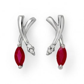 Genuine 0.75 Ctw Ruby & Diamond Earrings 14k White Gold