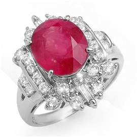 Genuine 5.15 ctw Ruby & Diamond Ring 18K White Gold -