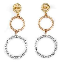 Natural 2.0 ctw Diamond Earrings 14K 3-Tone Gold -