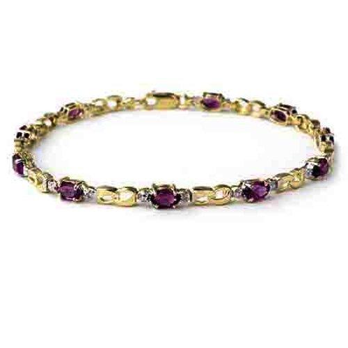 Genuine 2.03 ctw Amethyst & Diamond Bracelet 10K Yellow