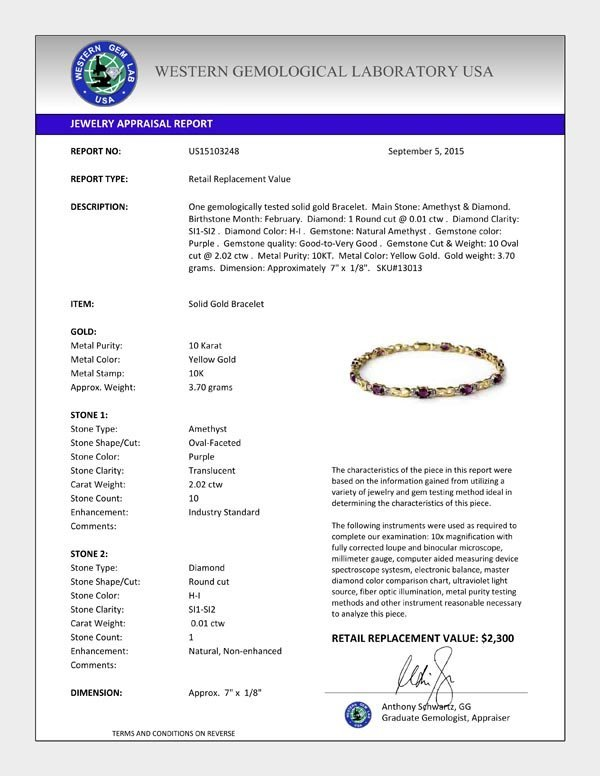 Genuine 2.03 ctw Amethyst & Diamond Bracelet 10K Yellow - 2