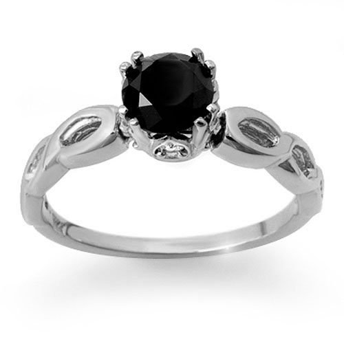 Natural 1.45 ctw Black & White Diamond Solitaire Ring