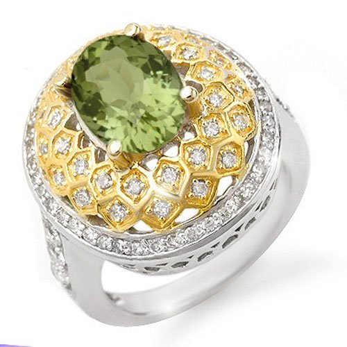 Genuine 4.05 ctw Green Tourmaline & Diamond Ring 14K