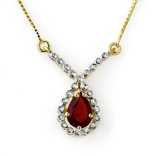 Genuine 0.90 ctw Garnet Necklace 10K Yellow Gold -