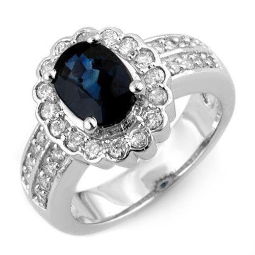 Genuine 3.25 ctw Blue Sapphire & Diamond Ring 18K White