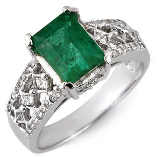 Natural 2.75 ctw Emerald & Diamond Ring 18K White Gold