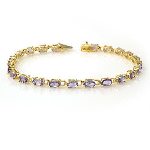 Genuine 5.0 ctw Tanzanite Bracelet 10K Yellow Gold -