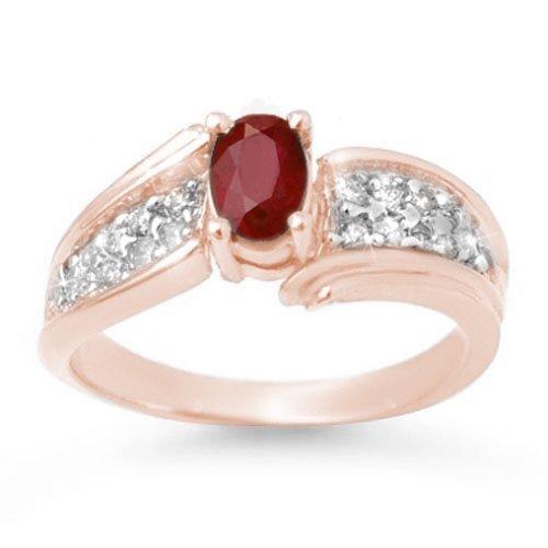 Genuine 1.43 ctw Ruby & Diamond Ring 14K Rose Gold -
