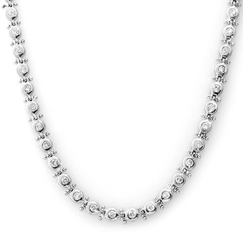 Natural 4.0 ctw Diamond Necklace 14K White Gold -