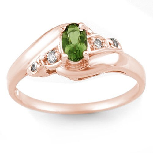 Genuine 0.42 ctw Green Tourmaline & Diamond Ring 14K