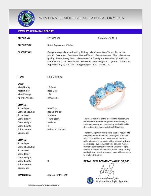 Natural 3.66 ctw Blue Topaz Ring 18K Rose Gold - 12750- - 2