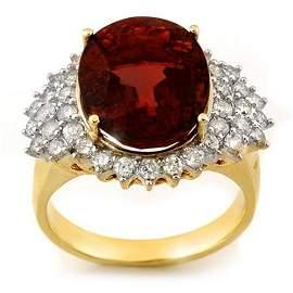 Natural 9.18 ctw Pink Tourmaline & Diamond Ring 14K