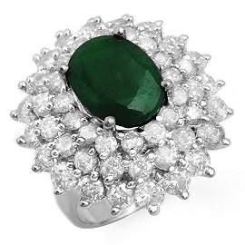 Natural 10.02 ctw Emerald & Diamond Ring 18K White Gold