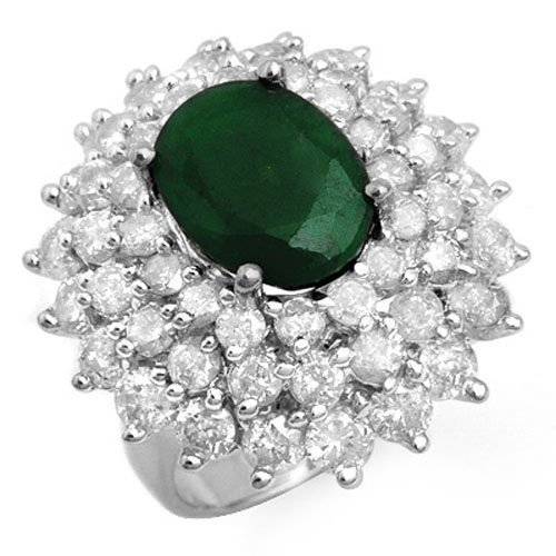 Natural 10.02 ctw Emerald & Diamond Ring 18K White Gold