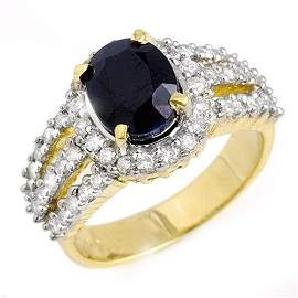 Genuine 4.56 ctw Blue Sapphire & Diamond Ring 14K