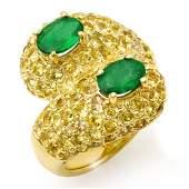 Natural 5.50 ctw Emerald Ring 10K Yellow Gold -