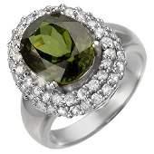 Natural 5.50 ctw Green Tourmaline & Diamond Ring 14K