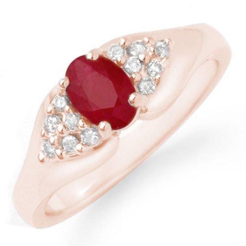 Natural 0.83 ctw Ruby & Diamond Ring 14K Rose Gold -