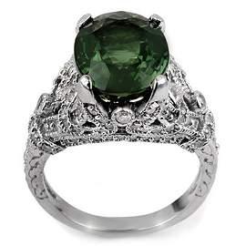 Natural 7.10 ctw Green Tourmaline & Diamond Ring 14K