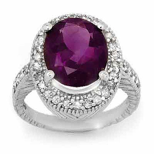 Natural 5.50 ctw Amethyst & Diamond Ring 14K White Gold