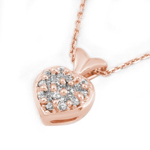 Natural 0.20 ctw Diamond Necklace 18K Rose Gold -
