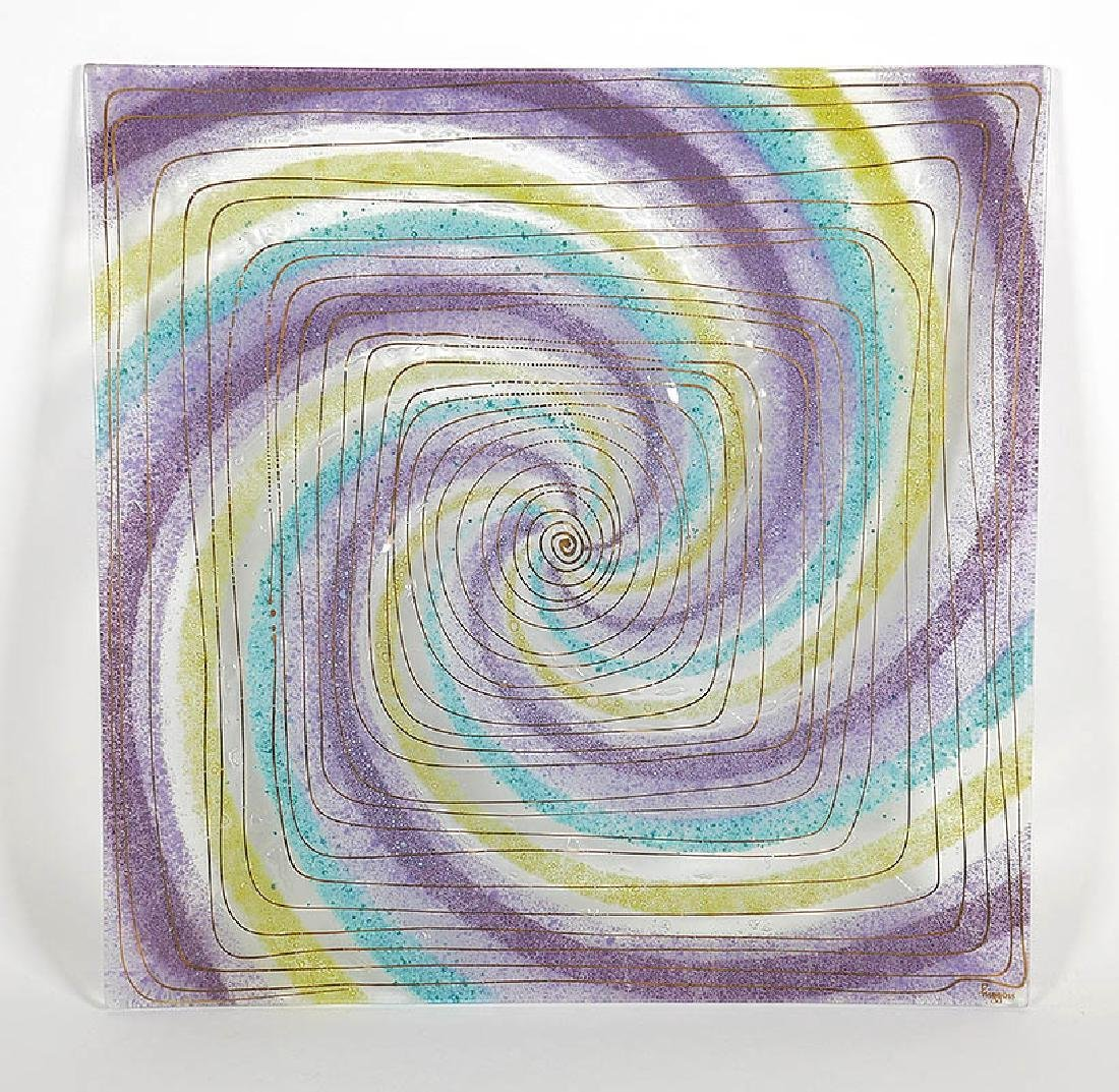 """Higgins Signed Art Glass Plate Tray 14"""" Square"""