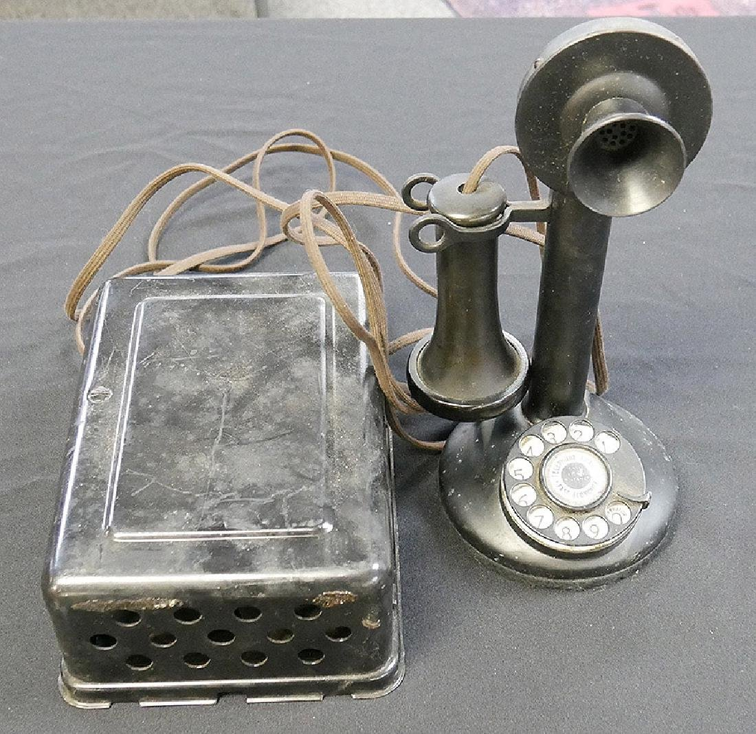 Antique Candlestick Telephone with Bell Box