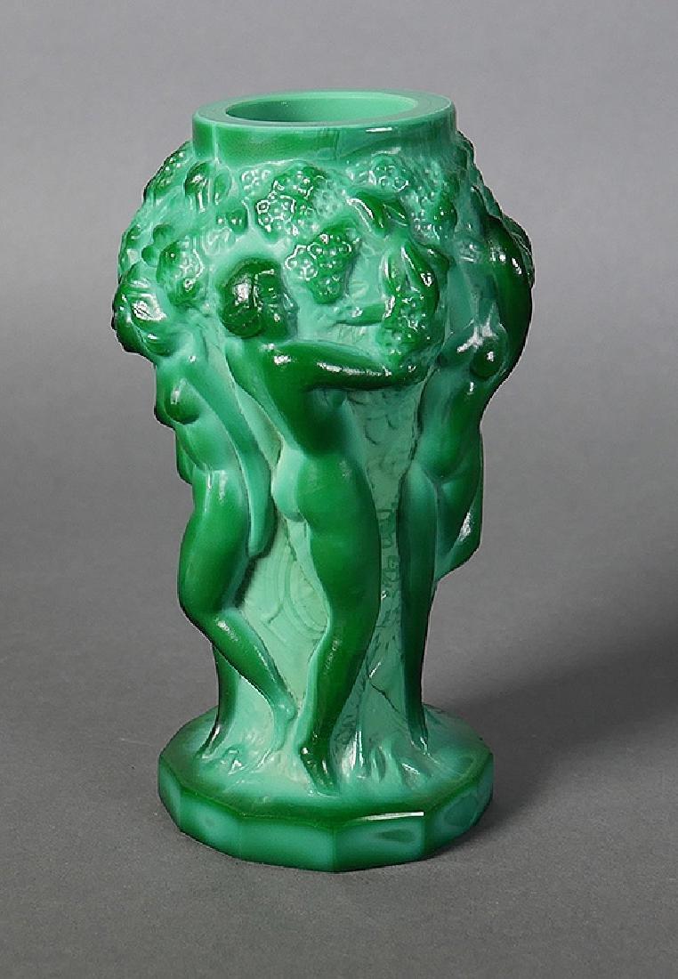 Fine Nude Green Malachite Art Glass Cabinet Vase - 3
