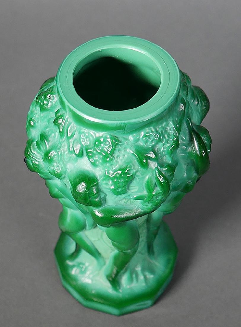 Fine Nude Green Malachite Art Glass Cabinet Vase - 4