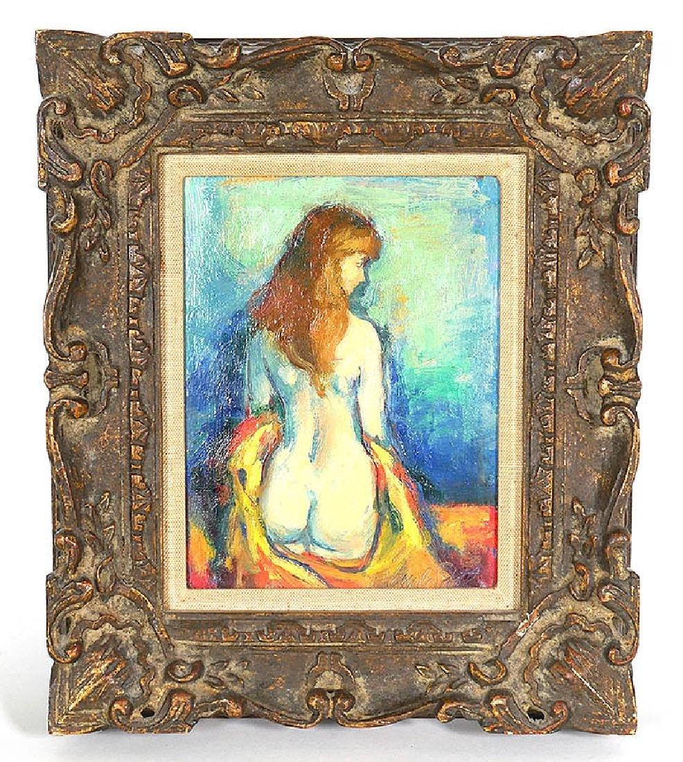 Jan de Ruth Nude Woman Oil on Board Painting