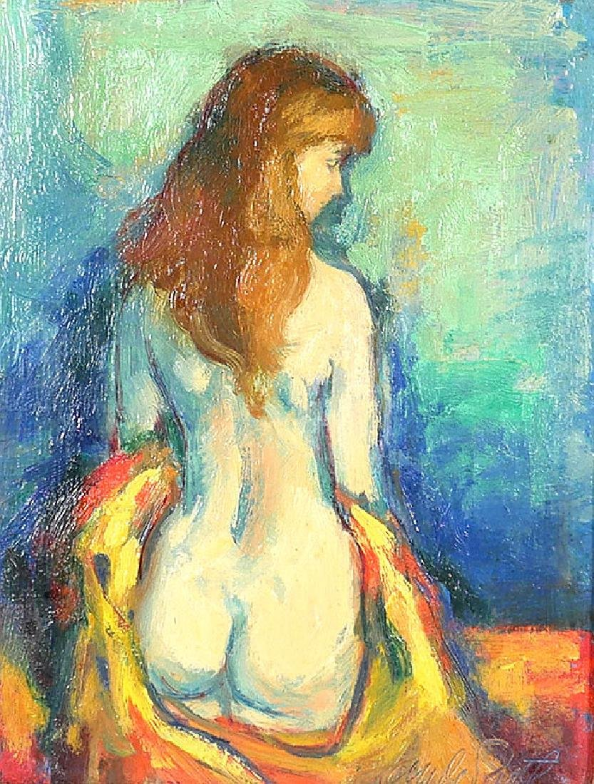 Jan de Ruth Nude Woman Oil on Board Painting - 2