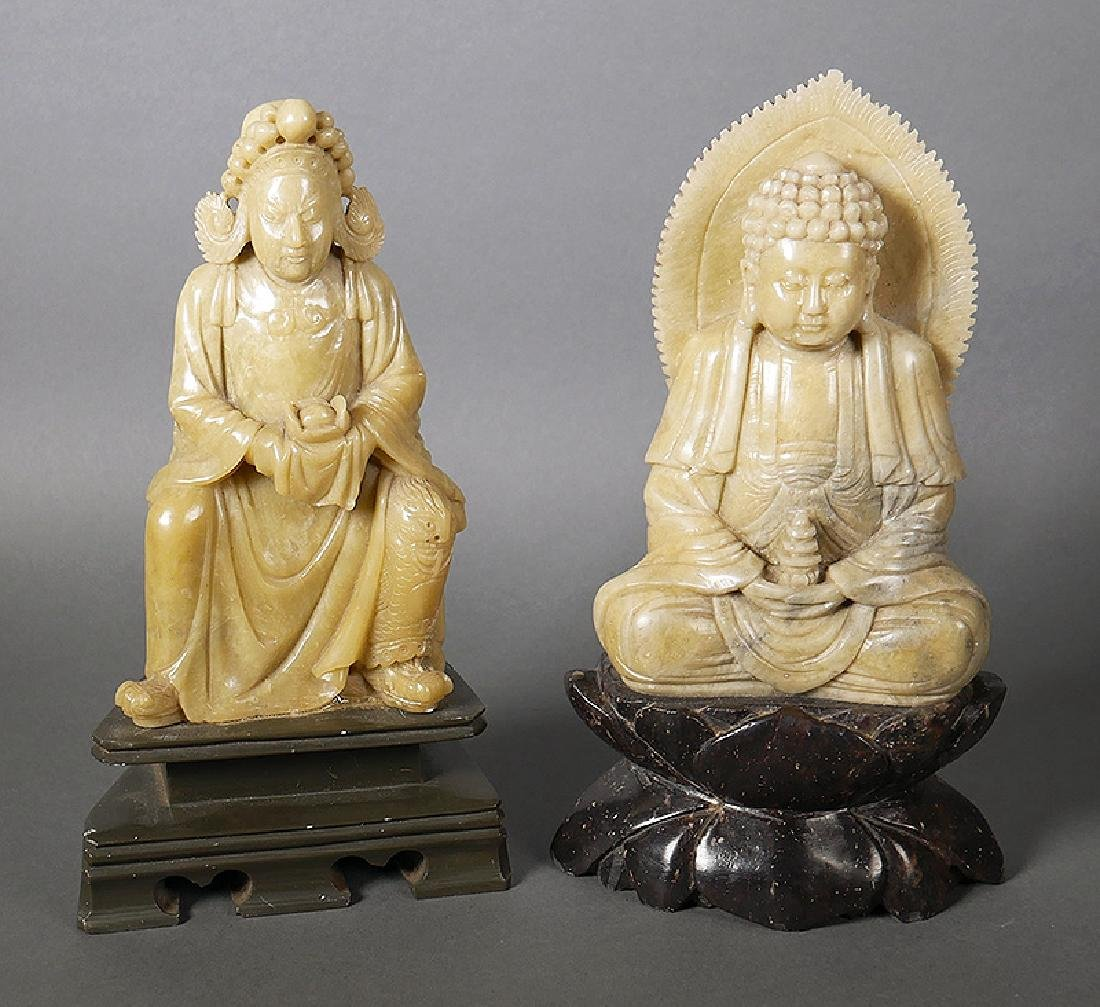 2 Old Chinese Soapstone Carved Buddha Figurines