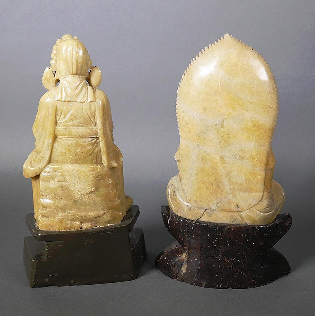 2 Old Chinese Soapstone Carved Buddha Figurines - 4