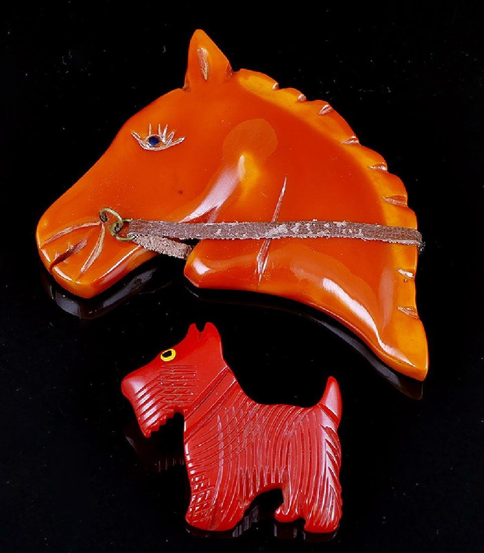 Vintage Bakelite Horse Head and Scottie Dog Pins