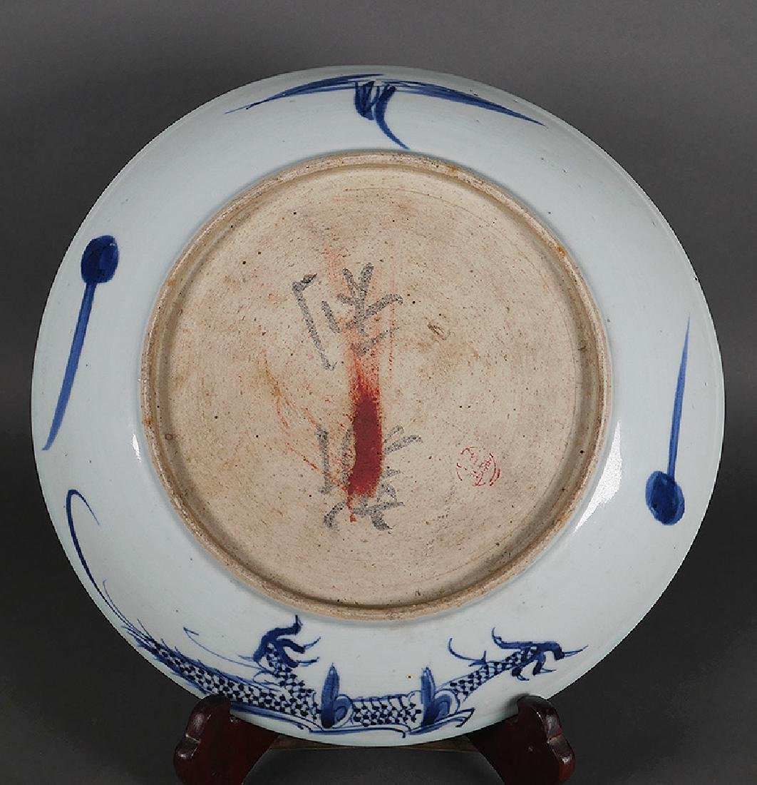 Old Chinese Blue & White Signed Dragon Bowl Plate - 3