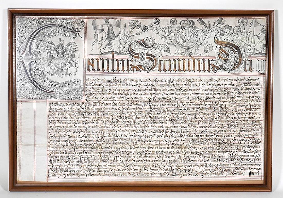 King Charles II circa 1670 English Vellum Document
