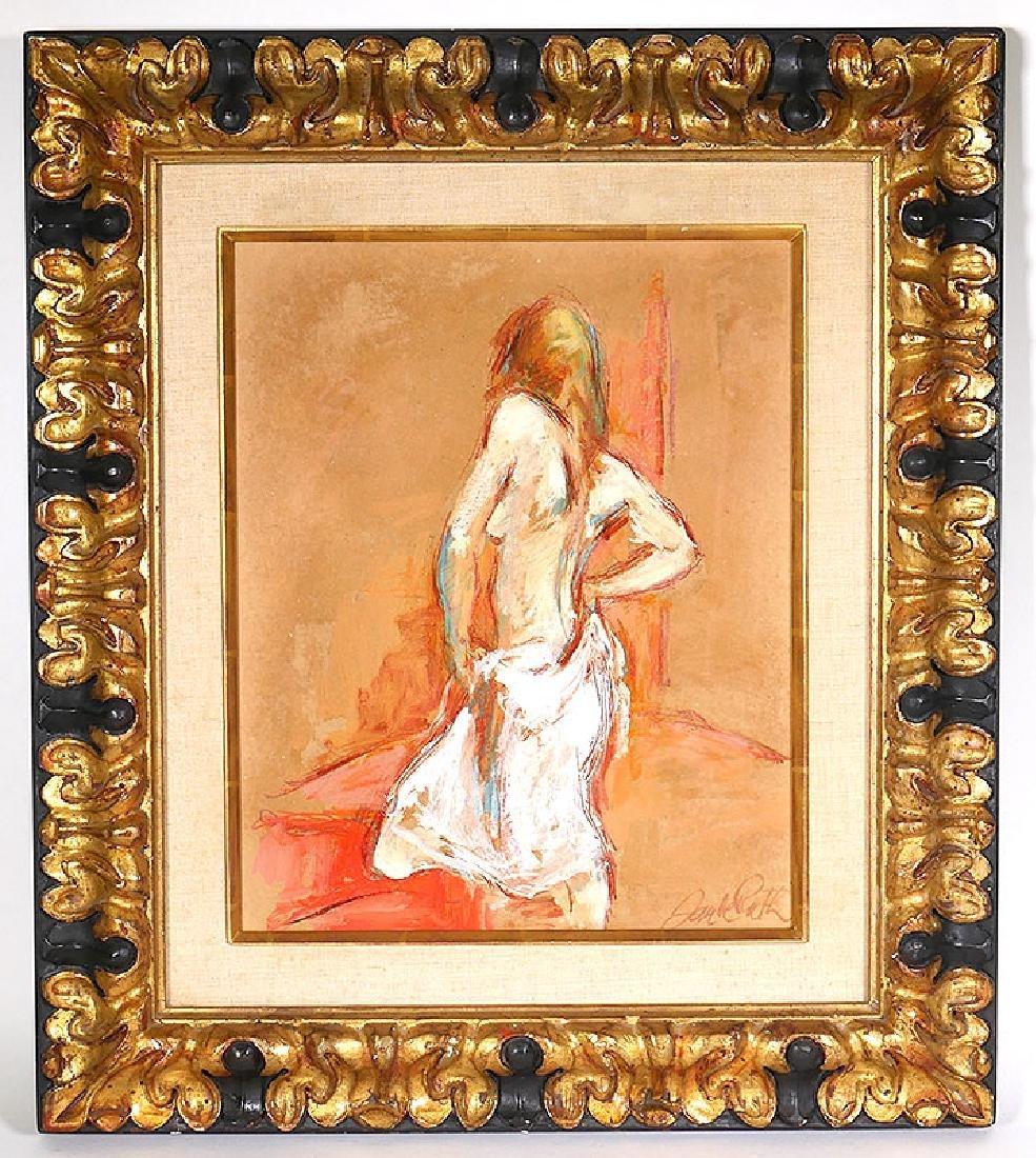 "Jan de Ruth Nude Woman O/B Painting ""White Slip"""