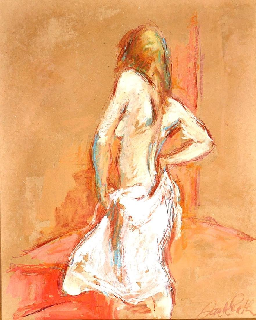 "Jan de Ruth Nude Woman O/B Painting ""White Slip"" - 2"