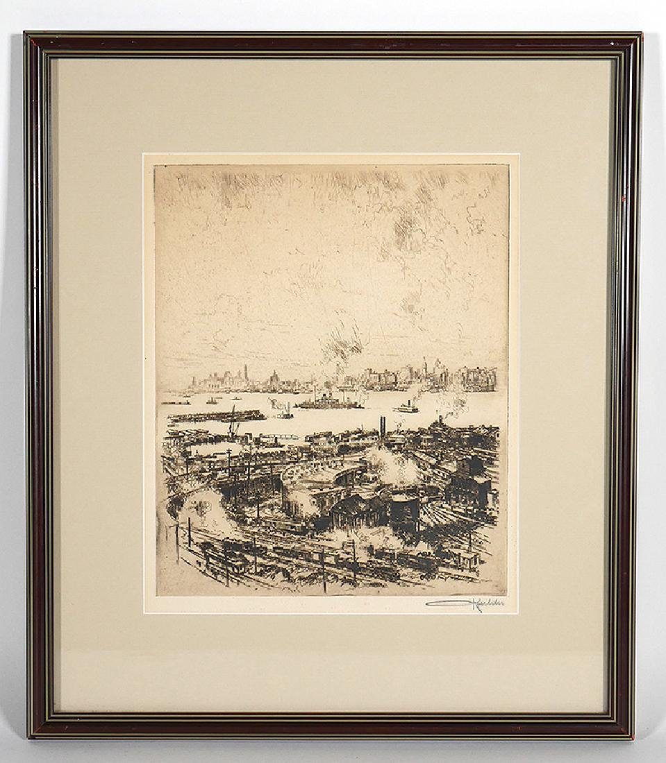 Otto Kuhler Signed Engraving Railyard in New York