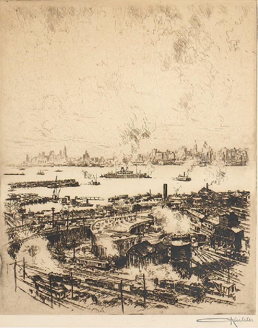 Otto Kuhler Signed Engraving Railyard in New York - 2