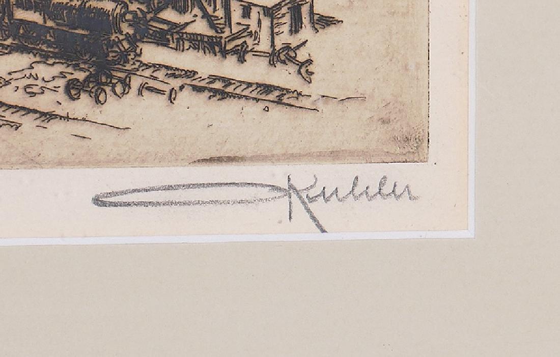 Otto Kuhler Signed Engraving Railyard in New York - 3