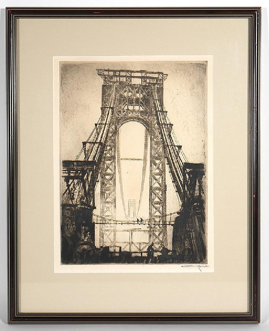 Otto Kuhler Signed Engraving Washington Bridge NYC