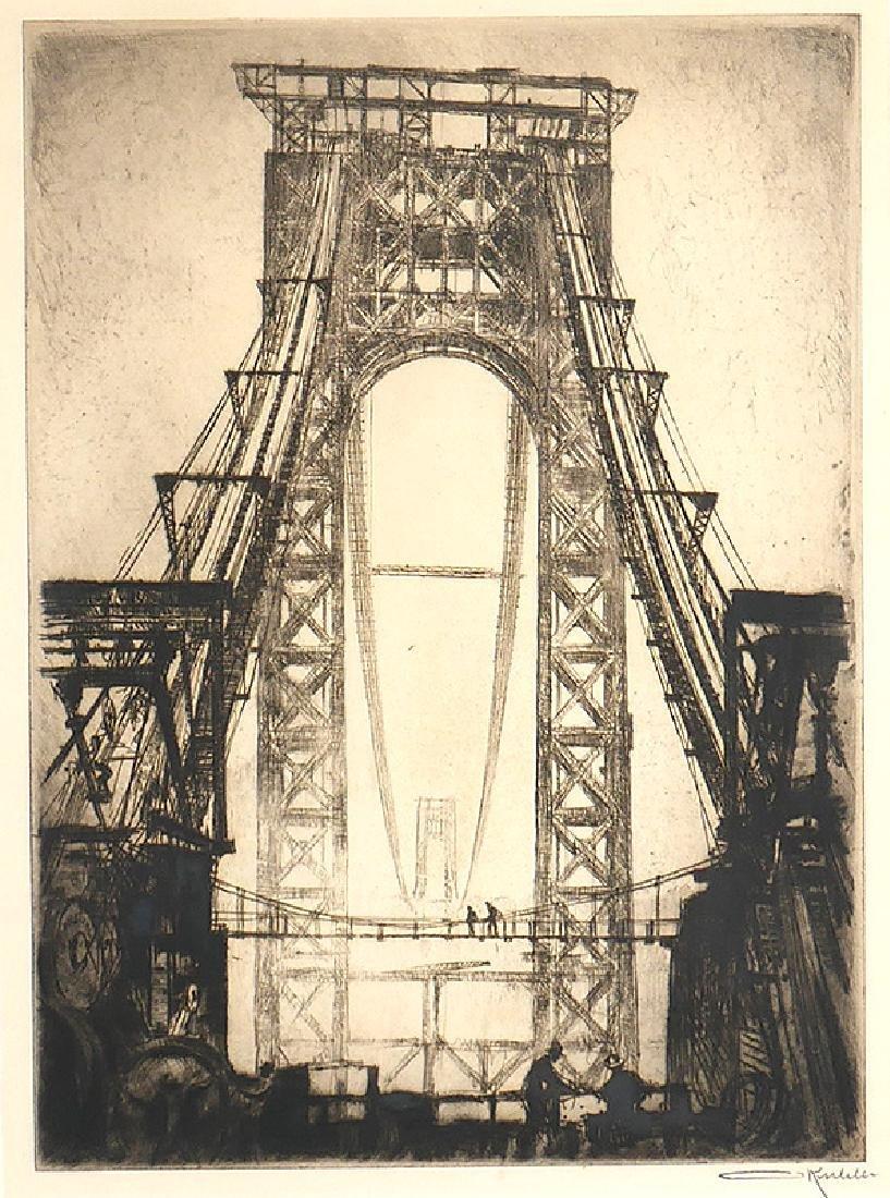 Otto Kuhler Signed Engraving Washington Bridge NYC - 2