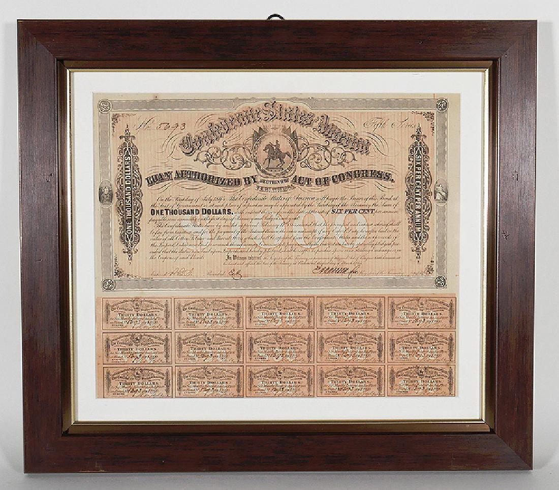 1864 Confederate States $1000 Bond with Coupons