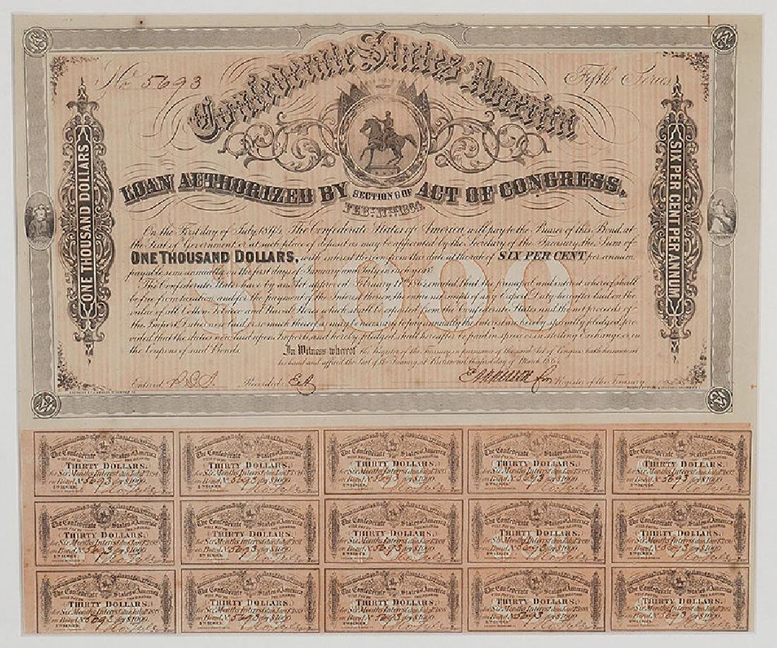 1864 Confederate States $1000 Bond with Coupons - 2