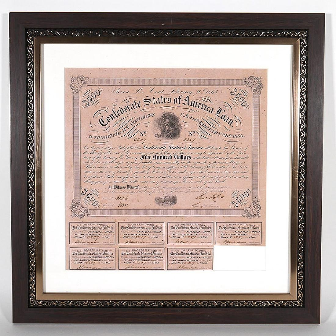 1863 Confederate States $500 Loan with Coupons