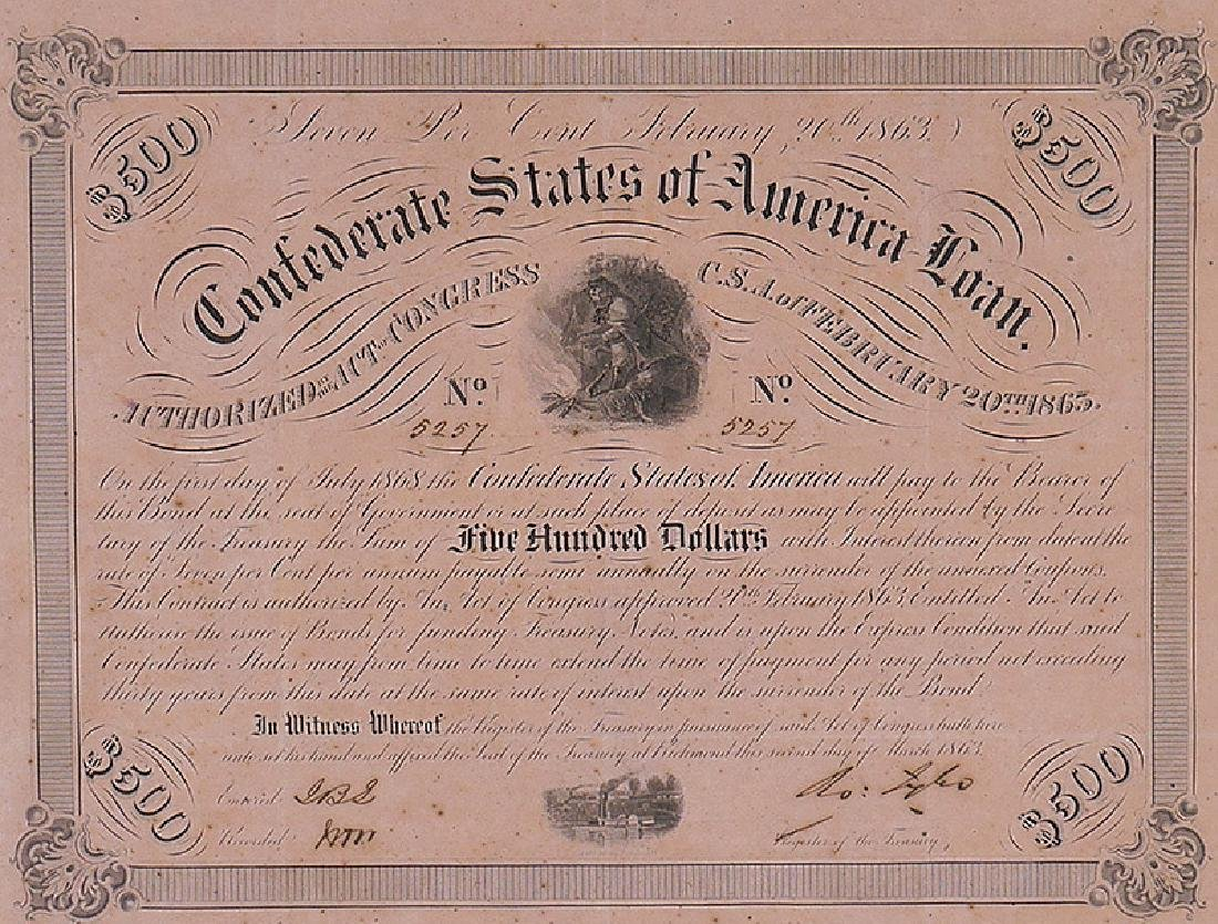 1863 Confederate States $500 Loan with Coupons - 3